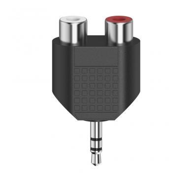 Hama Short Audio Adapter, 3.5 mm Jack Socket Stereo - 2 x RCA Socket