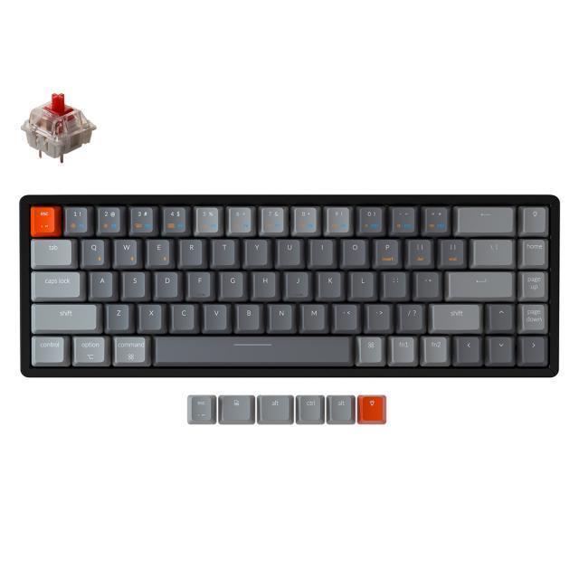 Keychron K6 Aluminum 65% (Gateron Red) + G.SKILL Crystal Crown Keycaps White