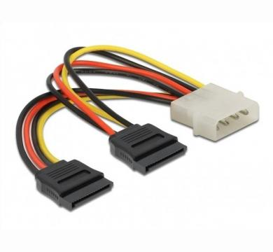 DeLock Power Molex 4 Pin to 2x SATA 15 Pin