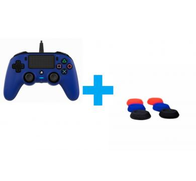 Nacon Wired Compact Controller + Nacon pack of 6 thumb grips for controller stick