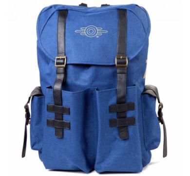 Fallout - Gold Foil Logo Printed Solid Blue Melange Backpack