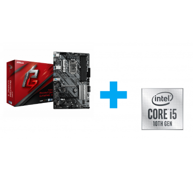 ASRock B460 Phantom Gaming 4 + Intel Core i5-10400F Tray