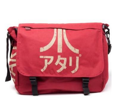 Atari - Dark Red Messenger Bag with Japanese Logo, Red