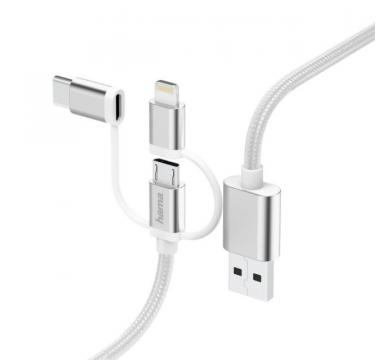 Hama 3-in-1 Micro-USB Cable with Adapter for USB Type-C and Lightning