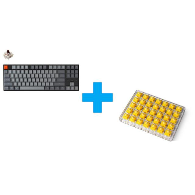 Keychron K8 Hot-Swappable TKL (Gateron Brown) + Keychron Gateron Cap Golden-Yellow Switch Set