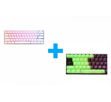 Ducky Green 31-Keycap Set + One 2 Mini Pure White V2 (Cherry MX Brown)