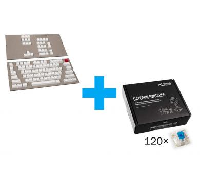 Glorious ABS Doubleshot 104-Keycap White US-Layout+Gateron Blue Switches x120