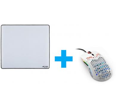 Glorious Model O- (Matte White) + L White Mousepad