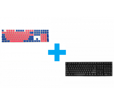 Ducky Pudding Red & Blue 108-Keycap Set + One 2 Phantom (Cherry MX Silent Red)