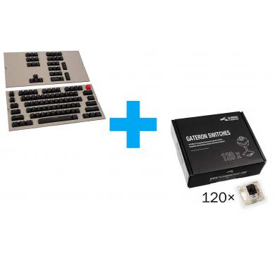 Glorious ABS Doubleshot 104-Keycap Black US-Layout+Gateron Black Switches x120